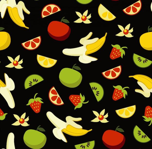 Vruchten naadloos patroon met de klemkunst van voedselelementen die op zwarte achtergrond wordt geplaatst Premium Vector
