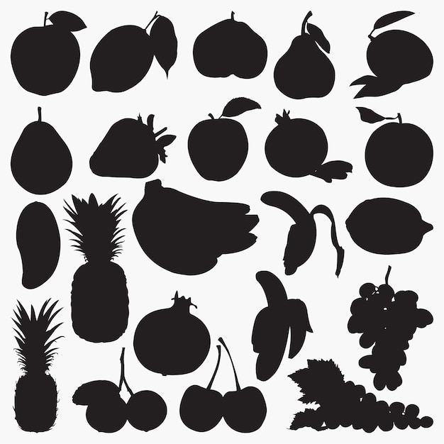 Vruchten silhouetten Premium Vector