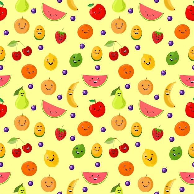 Vruchten sportman naadloos patroon. leuke sport fruit karakters. gezond eten. van het de zomer naadloze patroon illustratie als achtergrond met vers fruit. grappige vruchten voor kinderen op een lichte achtergrond. Premium Vector