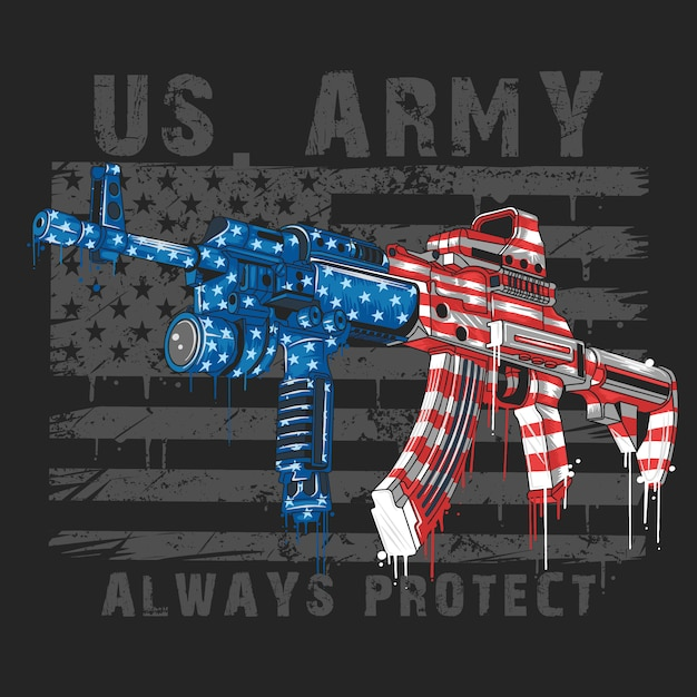 Vs leger amerika soldaat wapens ak-47 en vs vlag Premium Vector