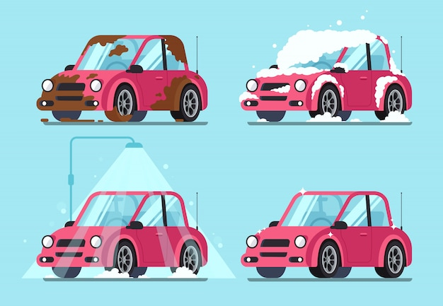 Vuile auto wassen Premium Vector