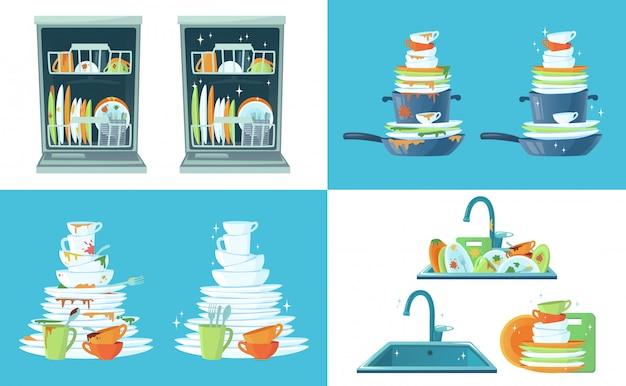 Vuile keukenschotel. reinig lege borden, borden in de vaatwasser en serviesgoed in de gootsteen. afwassen cartoon afbeelding Premium Vector
