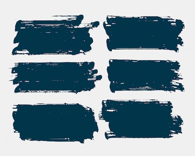 Vuile rechthoek vorm grunge penseelstreek set Gratis Vector