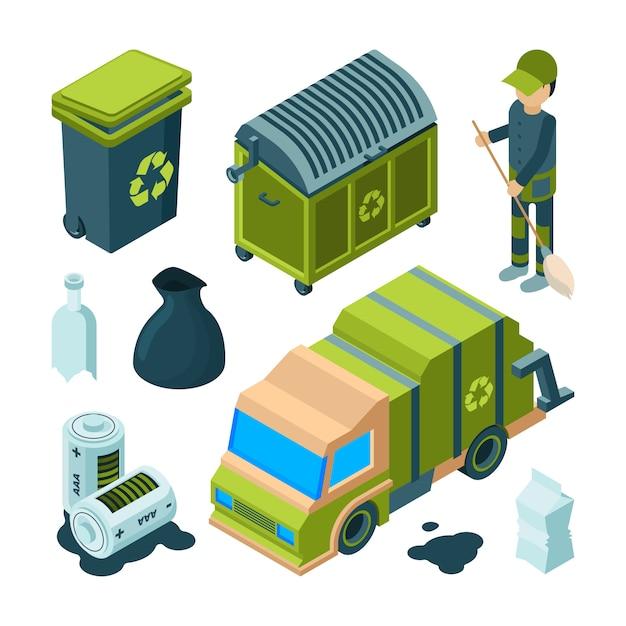 Vuilnis recycling isometrisch. city cleaning service truck stedelijke verbrandingsoven utility bin met afval 3d inzameling Premium Vector