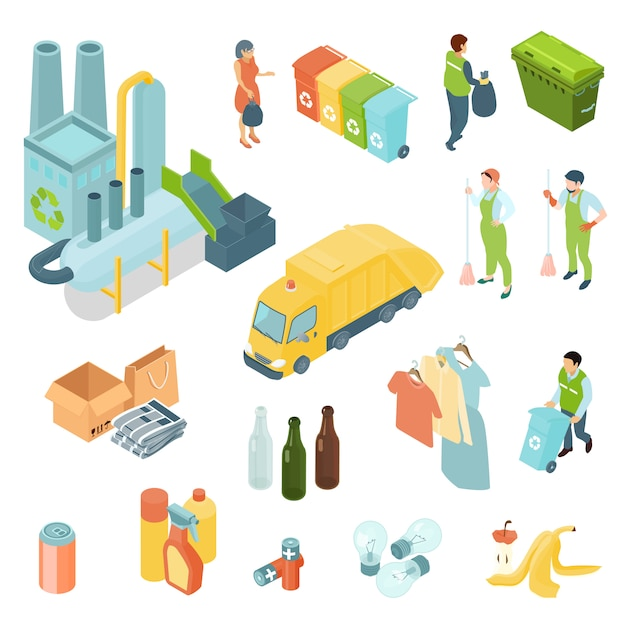 Vuilnis recycling isometrische icons set Gratis Vector