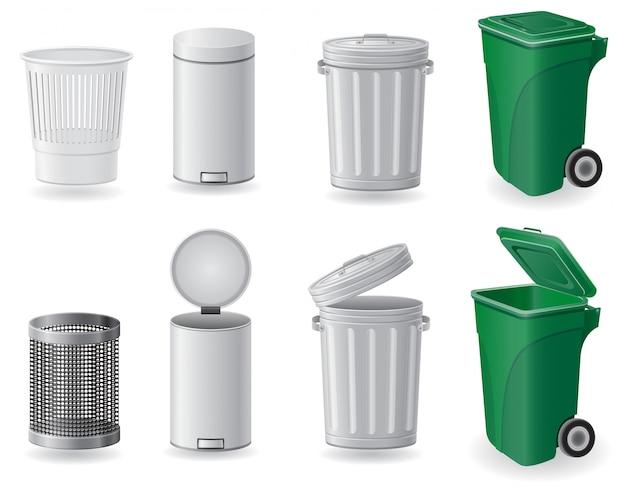 Vuilnisbak en vuilnisbak geplaatst vectorillustratie Premium Vector