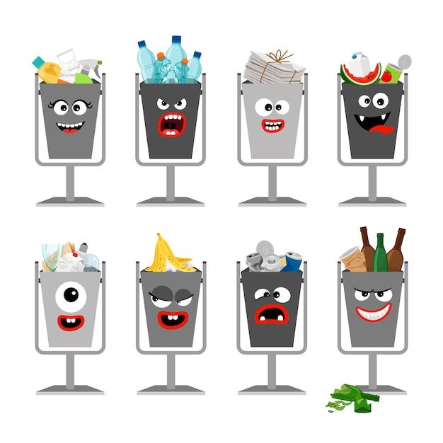 Vuilnisbakken met afval voor kinderen Premium Vector