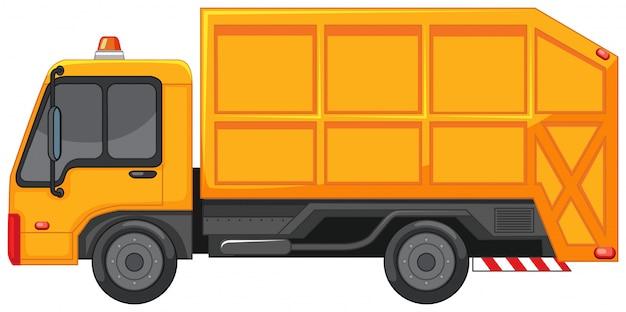 Vuilniswagen in gele kleur Gratis Vector