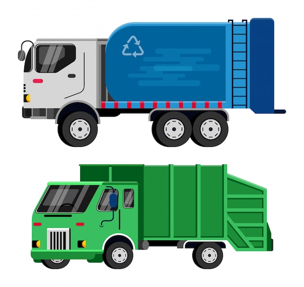 Vuilniswagen vector afval voertuig Premium Vector
