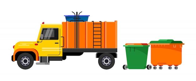 Vuilniswagen, vuilniswagen Premium Vector