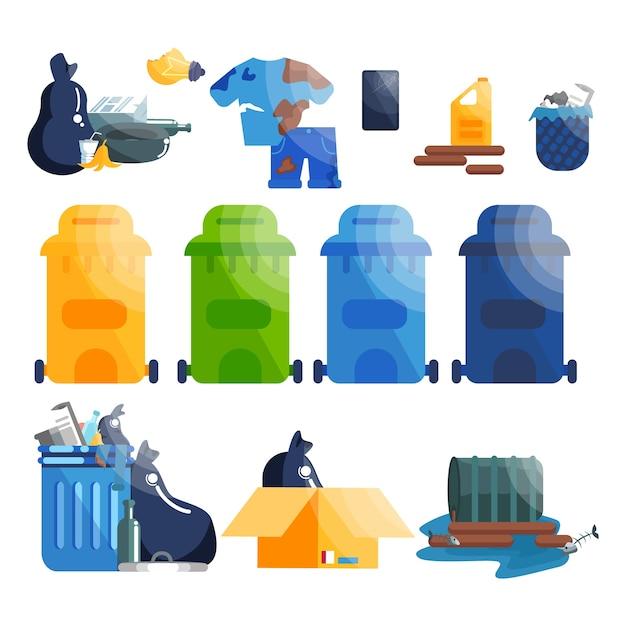Vuilniszakken en spullen. inzameling van plastic, papier en glasafval. Premium Vector