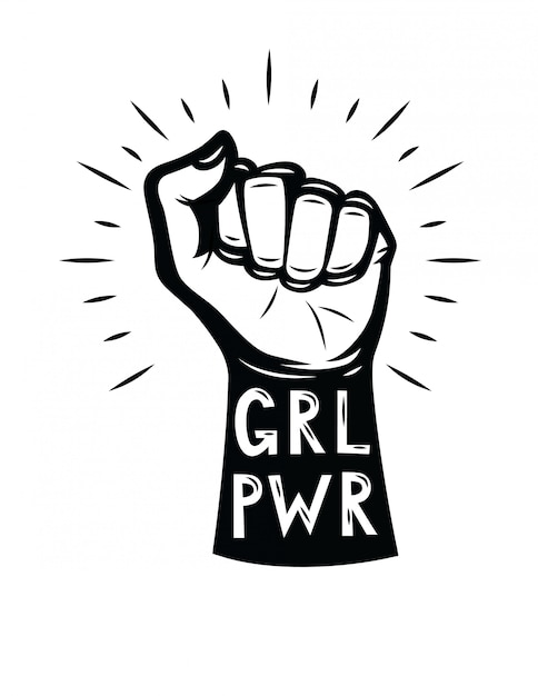 Vuist van de vrouw. girl power Premium Vector