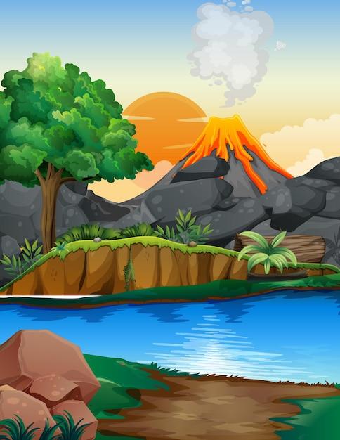 Vulkaanuitbarsting buiten scène achtergrond Gratis Vector