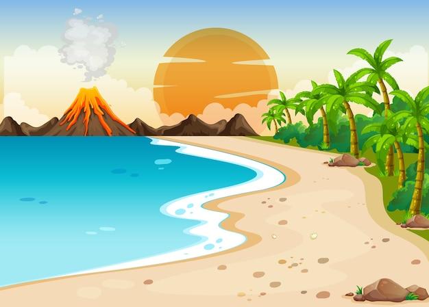 Vulkaanuitbarsting buiten scène illustratie Gratis Vector