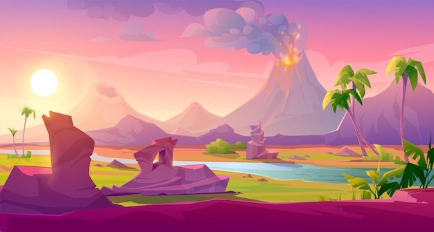 Vulkaanuitbarsting met lavastromen en rookwolken Gratis Vector