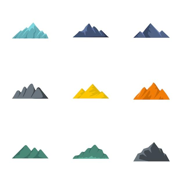 Vulkanische uitbarsting iconen set, vlakke stijl Premium Vector