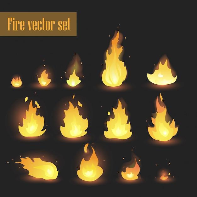 Vuur animatie sprites vlammen vector set. hete vuur en inferno explosie vector set. - vector Premium Vector
