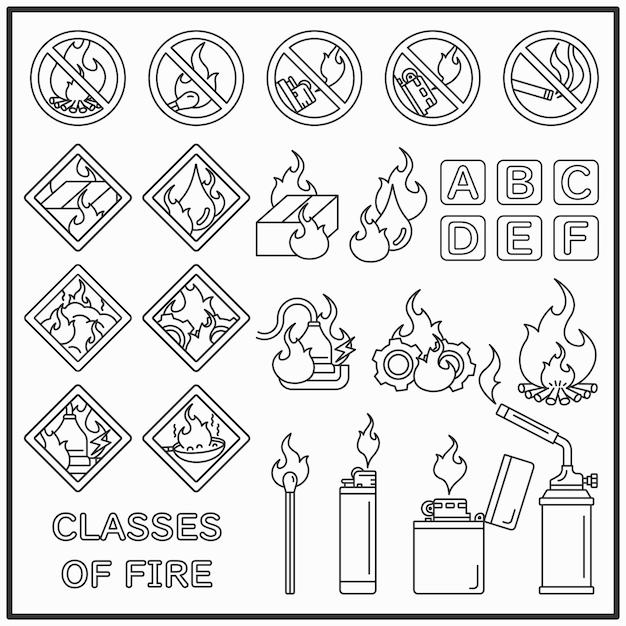 Vuur en vuur waarschuwing lijn pictogrammen instellen Premium Vector