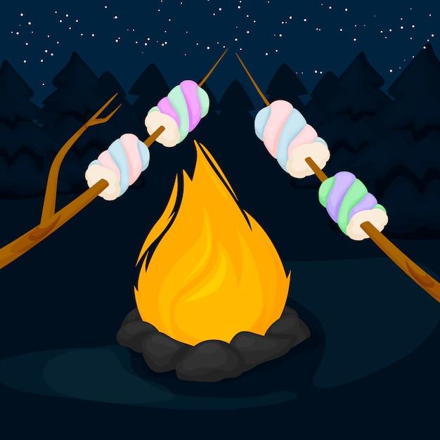 Vuur met marshmallow Premium Vector