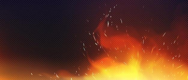 Vuur met sparkles en rook geïsoleerd op transparante achtergrond Gratis Vector