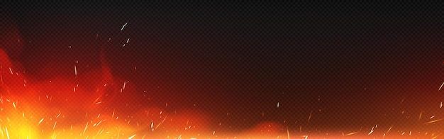 Vuur met vonken en rook geïsoleerd op transparante achtergrond. realistische vectorillustratie van hete gloed met vliegende fonkelingen en brandende deeltjes van vreugdevuur, ontsteking of smid fornuis Gratis Vector