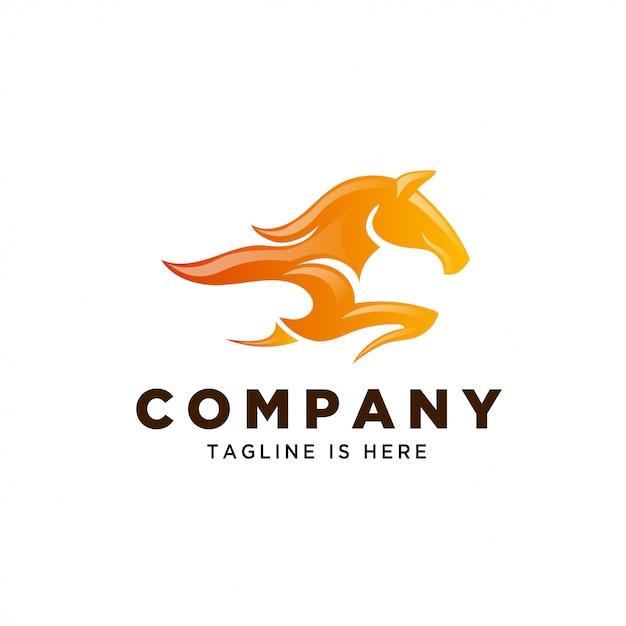 Vuur paard snelheid logo Premium Vector