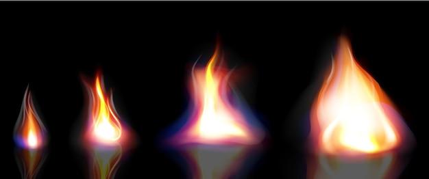Vuur realistisch, elementen vlam en vonken Premium Vector