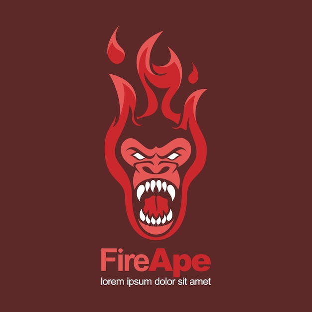 Vuur roodgloeiend aap aap boos mascotte logo Premium Vector