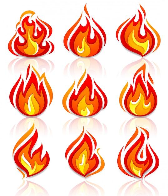Vuur vlammen nieuwe set met reflectie Premium Vector