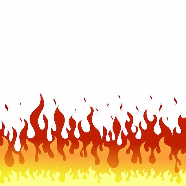 Vuur vlammen op een witte achtergrond Premium Vector