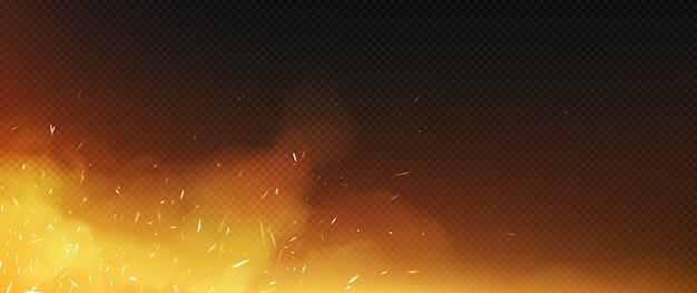 Vuur vonkt met rook en rondvliegende deeltjes Gratis Vector