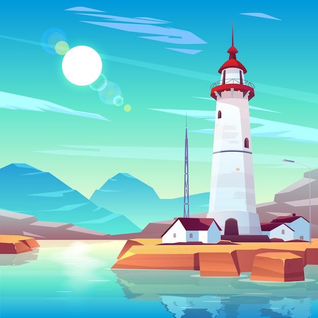 Vuurtoren die zich op rotsachtige kust bevindt die met huizen en tv-toren wordt omringd onder zon die in bewolkte hemel glanst. Gratis Vector