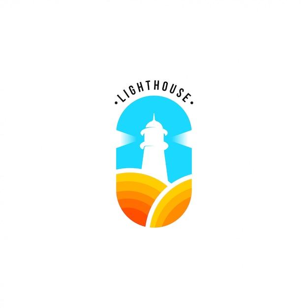 Vuurtoren logo sjabloon Premium Vector