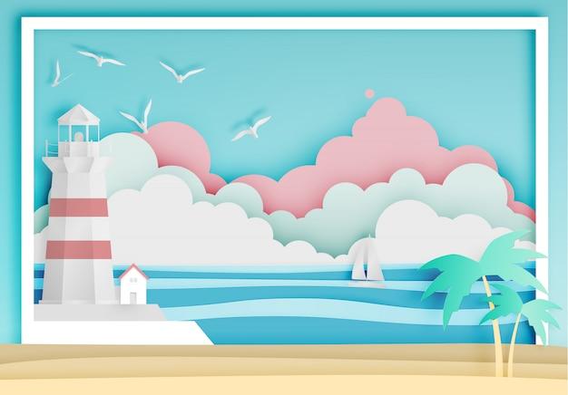 Vuurtoren met oceaan achtergrondkaderdocument de vectorillustratie van de kunststijl Premium Vector
