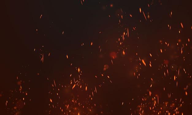 Vuurvlammen brandende roodgloeiende vonken realistische samenvatting Premium Vector