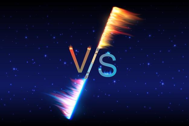 Vuurvlammen versus vs-teken dat explodeert door elementen, waterspatten en bliksem Premium Vector