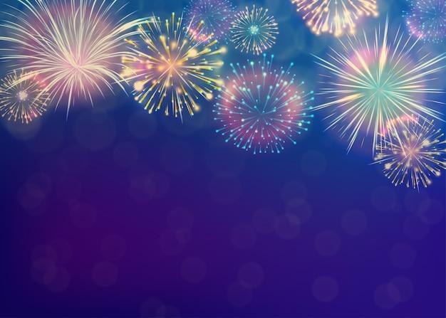 Vuurwerk achtergrond. nieuwjaar viering concept. Gratis Vector