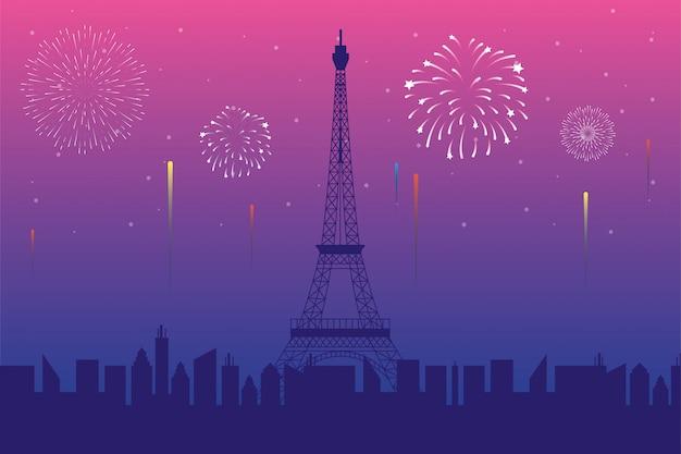Vuurwerk barstte explosies met de skyline van parijs Premium Vector