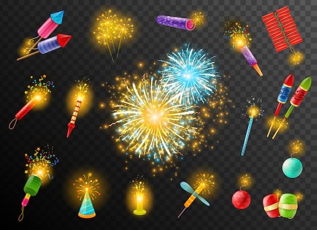 Vuurwerk crackers pyrotechnic donkere achtergrond poster Gratis Vector