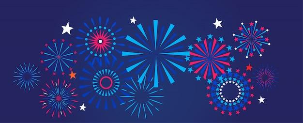 Vuurwerk en vieringsachtergrond Premium Vector