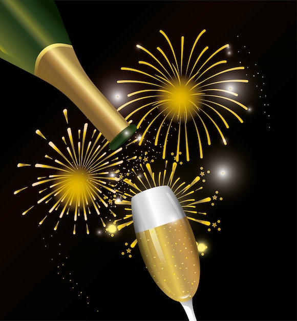 Vuurwerk nacht decoratie met champagne glas Premium Vector
