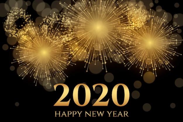 Vuurwerk nieuw jaar 2020 Gratis Vector