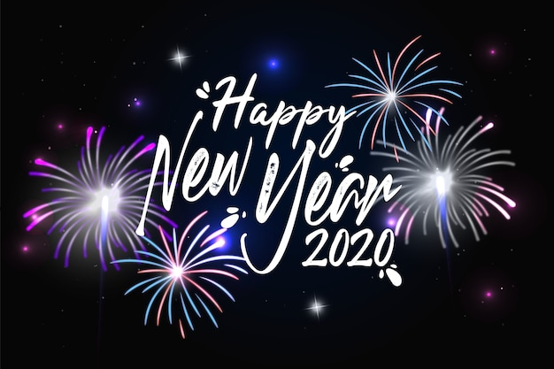 Vuurwerk nieuwe jaar 2020 achtergrond Gratis Vector