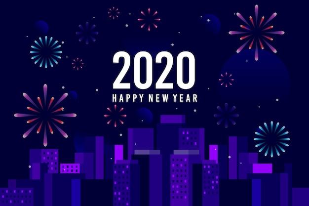 Vuurwerk nieuwe jaarachtergrond Gratis Vector