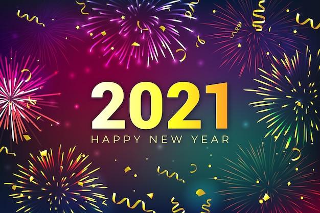 Vuurwerk nieuwjaar 2021 concept Premium Vector
