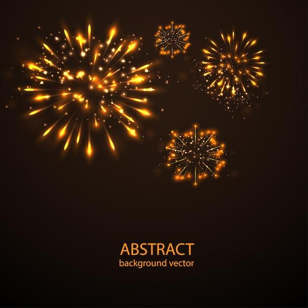 Vuurwerk op schemering achtergrondvector. vuurwerk nieuwjaarsviering. Premium Vector