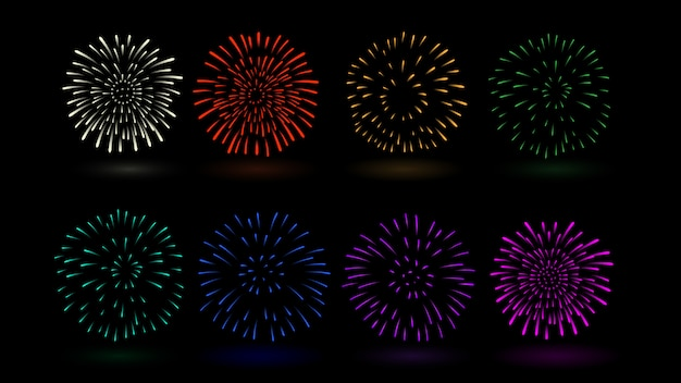 Vuurwerk vector veelvoudige kleur in inzameling. ideaal voor ontwerp over festival en feest. Premium Vector