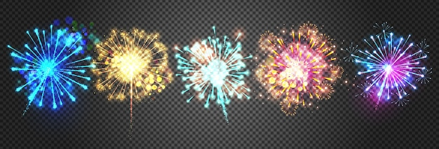 Vuurwerkillustratie van fonkelende heldere voetzoekerlichten. Gratis Vector