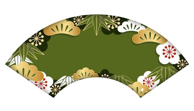 Waaier-vorm achtergrond met traditioneel japans patroon voor de kaart van het nieuwjaar, vectorillus Premium Vector