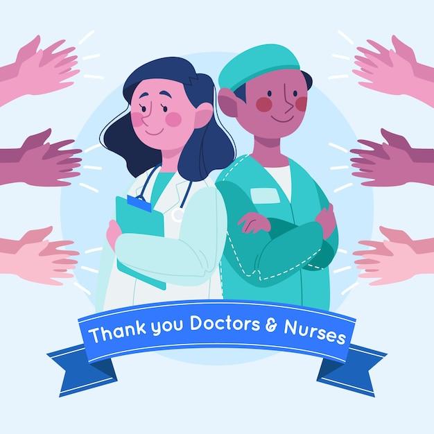 Waardering van artsen en verpleegkundigen Gratis Vector